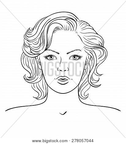 Young Woman Face. Fashion Hairstyle. Hand Drawn Style Vector Design Illustrations