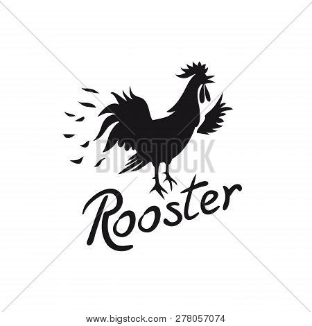 Rooster Logo. Cock Image With Text Isolated On White Background