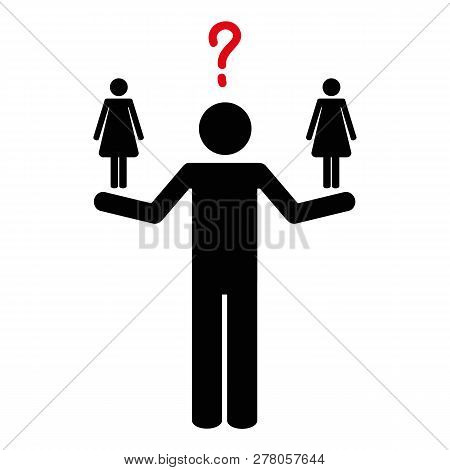 Man Can Not Decide Between Two Women Pictogram Vector Illustration Eps10