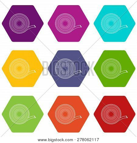 Duct tape icons 9 set coloful isolated on white for web poster