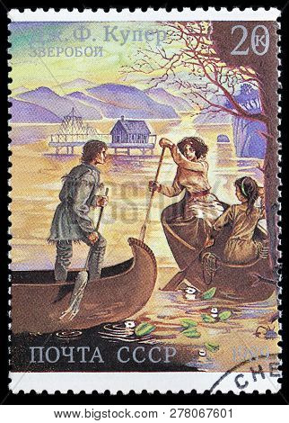 Luga, Russia - June 6, 2018: A Stamp Printed By Russia (ussr) Shows Scene From James Fenimore Cooper
