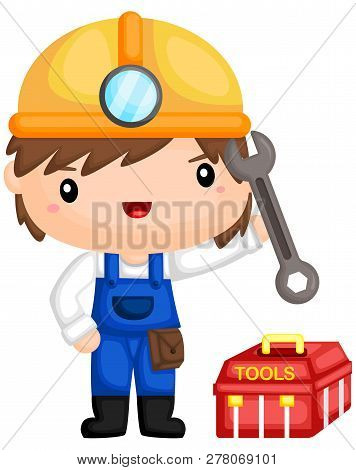 Construction Man With His Tools And Toolbox