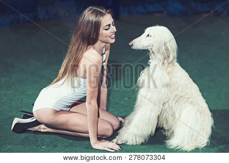 Sensual Woman Smile To Dog Friend. Happy Woman With Cute Pet. Fashion Girl In Sexy Bodysuit With Dom