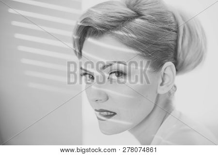 Girl With Strips Of Light And Shadows On Her Face. Lady With Blonde Hair And Elegant Hairstyle. Woma