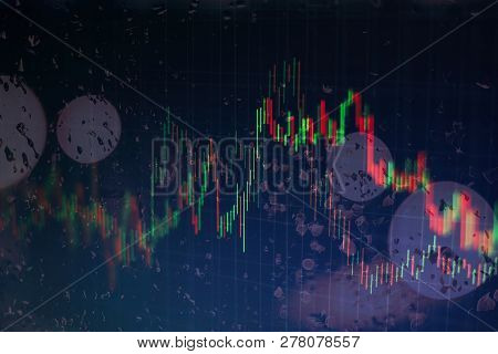 Abstract Financial Candlestick Chart With Line Graph And Stock Numbers On Gradient Blue Color Backgr