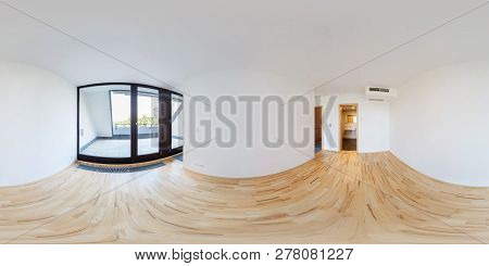 Panorama 360 View In Modern White Empty Loft Apartment Interior Of Living Room Hall, Full  Seamless