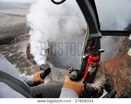 Helicopter over Kilauea