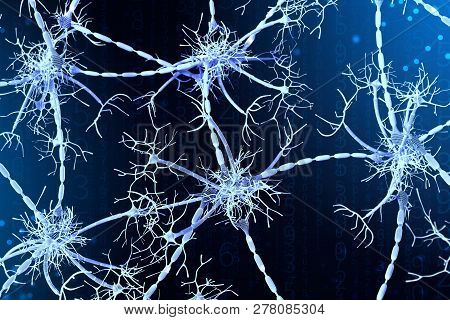 3D Illustration Of Neural Networks On A Digital Background. Concept Of Artificial Intelligence