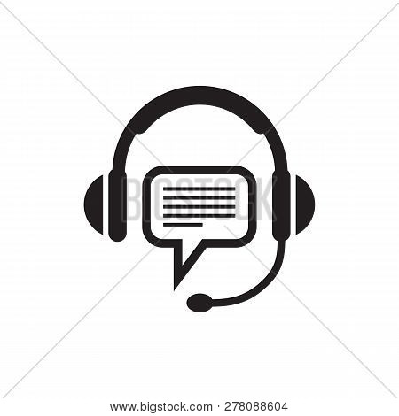 Headphone And Speech Bubble - Black Icon On White Background Vector Illustration For Support Or Serv