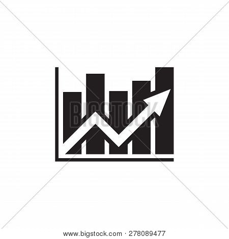Analysis Stock Market - Black Icon On White Background Vector Illustration. Financial Chart Analysis