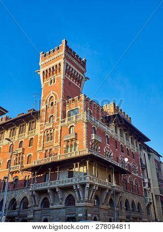 Castello Cova Castle, Also Known As Palazzo Viviani Cova. Milan, Lombardy, Italy.