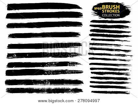 Vector Make-up Cosmetic Mascara Brush Stroke Texture Design. Large Set Different Grunge Brush Stroke
