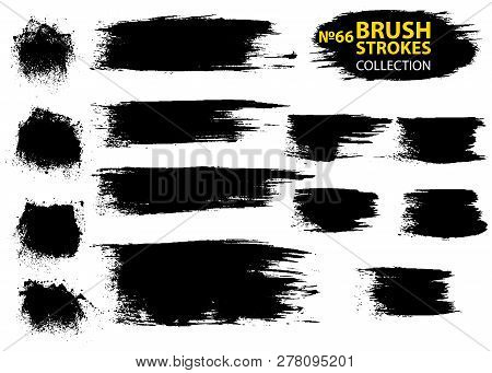 Vector Make-up Cosmetic Mascara Brush Stroke Texture Design. Large Set Different Grunge Brush Stroke