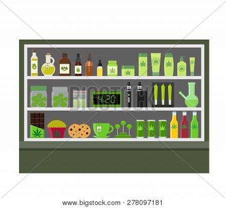 Marijuana Store. Marijuana Equipment And Accessories For Smoking, Storing Medical Cannabis. Cannabis