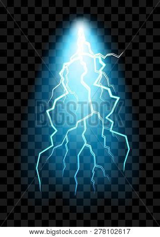 Realistic Electric Discharge Shocked Effect For Design. Power Electrical Energy Lightning Spark Or E