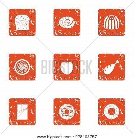Dulcet Icons Set. Grunge Set Of 9 Dulcet Icons For Web Isolated On White Background