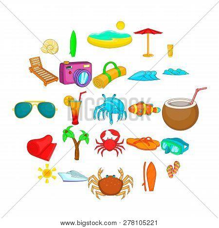 Seaside Icons Set. Cartoon Set Of 25 Seaside Icons For Web Isolated On White Background