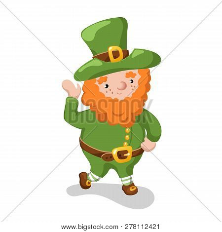 Leprechaun In Green Hat On White Background. St Patrick Day Symbol Isolated. Friendly Leprechaun Vec