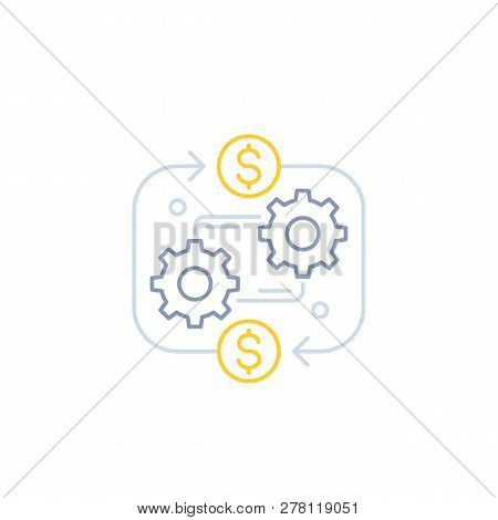 Costs Optimization, Business Efficiency Vector Line Icon, Eps 10 File, Easy To Edit