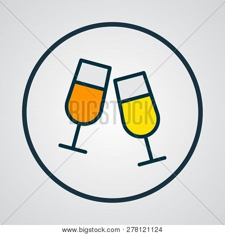 Clink Glasses Icon Colored Line Symbol. Premium Quality Isolated Stemware Element In Trendy Style.