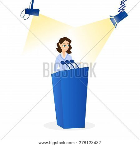 Flat Vector Illustration Woman Speaking On Podium. Young Smiling Girl Speaking In Front Microphone.