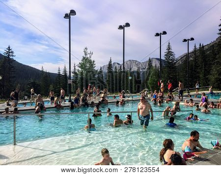Miette Hot Springs, Jasper National Park, Alberta, Canada - July 5th, 2015: Miette Hot Springs Are C