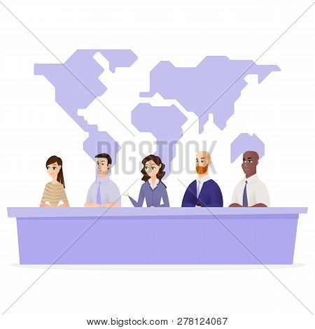 Illustration Conference Protection Planet Ecology. Vector Image Group People Sitting Nature Protecti