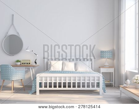 White Bedroom Vintage Style For Teenage Idea 3d Render.the Rooms Have  Wooden Floors And White Empty