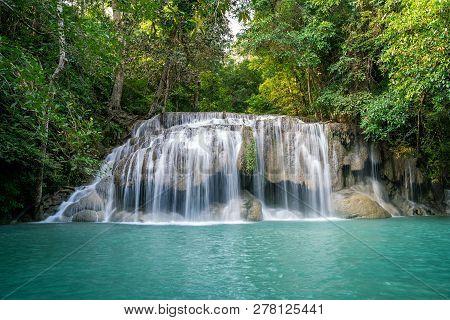 Erawan Water Fall (second Floor), Tropical Rainforest At Srinakarin Dam, Kanchanaburi, Thailand.eraw