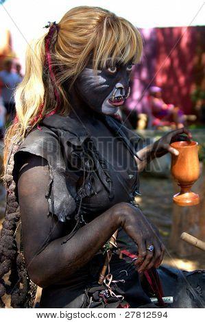Female Trol drinking