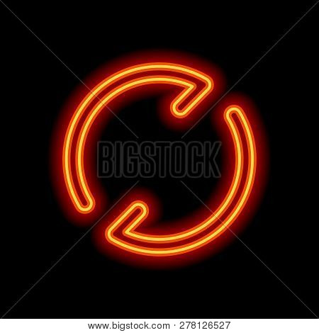 Simple arrows, update, reload. Navigation icon. Simple arrow, backward. Navigation icon. Linear symbol with thin line. One line style. Orange neon style on black background. Light icon poster