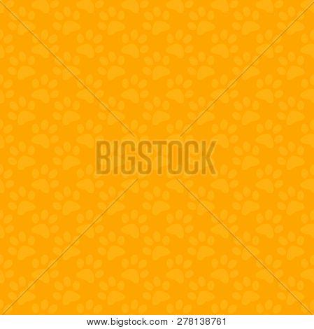 Seamless Yellow Cartoon Cat Footprints Tracks Pattern Background