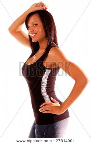 Sexy African American woman in casual fashion proves that real woman have some curves!