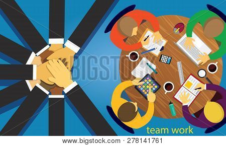 Business Teamwork Team Hard Work Concept. Vector Illustration