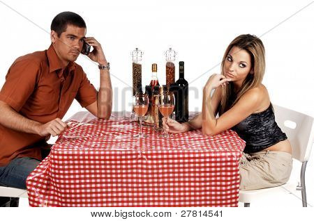 Angry couple at a Bistro