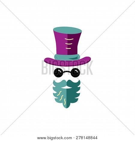 Person With Beard, Glasses And Hat. Vector Illustration For Hipster, Avatar, Wizard. Flat And Outlin