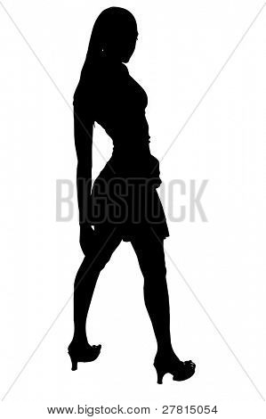 Sexy woman shilouete in short skirt and high heels with clipping path