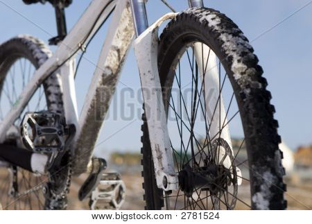 Bike In Winter Over Blue Sky