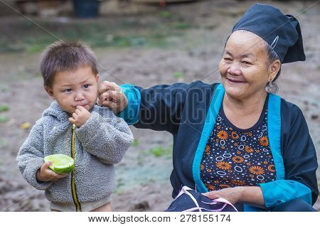Bam Na Ouan , Laos - Aug 13 : Woman From The Hmong Minority In Bam Na Ouan Village Laos On August 13