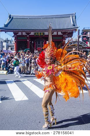 Tokyo - Aug 25 : Participant In The Asakusa Samba Carnival In Tokyo Japan On August 25 2018. The Asa
