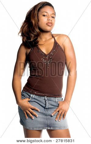 Sexy inner city African American woman in a denim skirt
