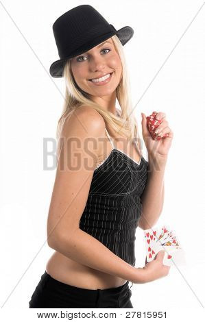 Beautiful and sexy young blonde gangster girl in a pinstripe hat and corsette top with a Hearts Royal Flush and a handful of cash winnings