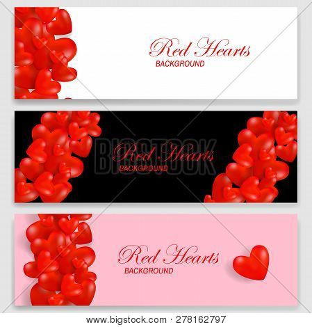 Festive Banners Set With Red Herts. Set Of Horizontal Banners For Brochures Or Vouchers. Vector Eps1