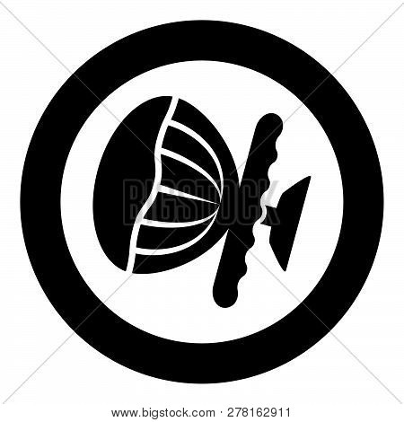 Airbag Sign Steering Wheel With Active Airbag Icon Black Color Vector Illustration Flat Style Simple