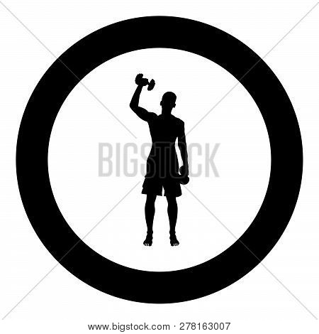 Man Doing Exercises With Dumbbells Sport Action Male Workout Silhouette Front View Icon Black Color
