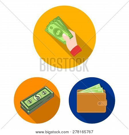 Vector Design Of Cash And Currency Symbol. Collection Of Cash And Stack Stock Symbol For Web.