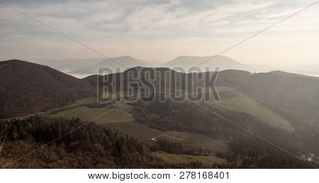 View From Klapy Hill Above Vah River Near Povazska Bystrica City In Javorniky Mountains In Slovakia