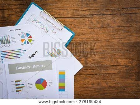 Business Report Chart Preparing Graphs Concept / Summary Report In Statistics Circle Pie Chart On Pa