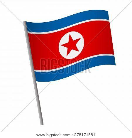 North Korea Flag Icon. National Flag Of North Korea On A Pole Vector Illustration.