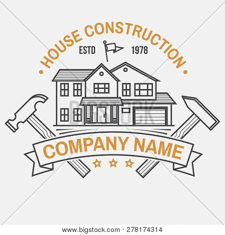 House Construction Company Identity With Suburban American House. Vector Illustration. Thin Line Ico